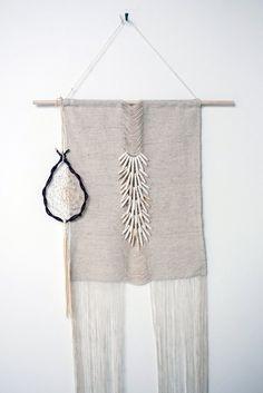 fine gauge weaving + beads (ceramic?) + fringe
