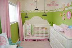 green, white and pink owl nursery for girls