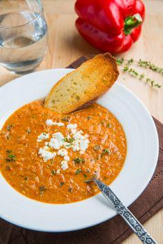 cauliflower soup, red pepper, cauliflow soup, goat cheese