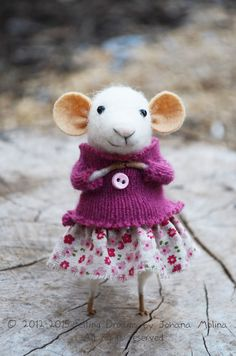 Little Coquet Mouse  Needle Felted Ornament  by felting dreams