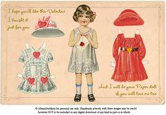 Vintage Valentine Paper Doll Postcard