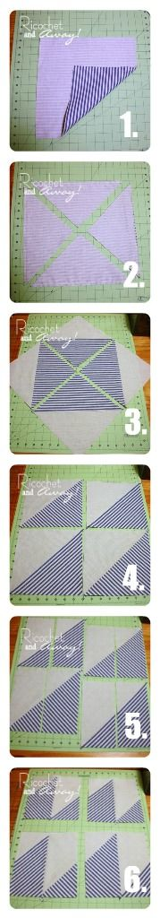 HST technique.  Begin with 2 squares of fabric and end with 4 squares of half square triangles.  Plus an extra step to make many unique blocks.