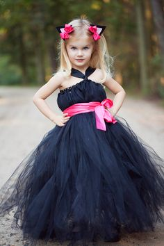 Navy blue and pink flower girl dress for wedding.