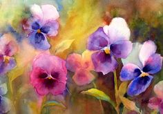 watercolor pansies  Tattoo idea. just one pansy