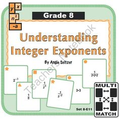 Multi-Match Game Cards 8E: Understanding Integer Exponents from K-8 MathPaths on TeachersNotebook.com -  (10 pages)  - This FREE set of printable Multi-Match game cards helps students simplify expressions with negative integer exponents. This set aligns with CCSS 8.EE.1.