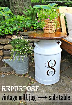 Repurposed Vintage Milk Jug side table #outdoordiy #personalized