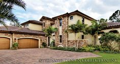 "Sater Design's 6797 ""Casoria"" home plan from our courtyard house plan portfolio..."