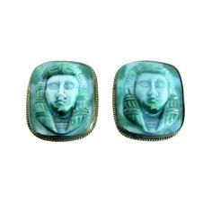 Egyptian Revival-Turquoise & Green Mottled,  Glass Earrings