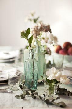 Simple Beauty #flowers #glass #jars #bottle #dinner #table #place #setting #centerpiece