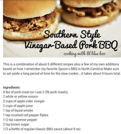 FINALLY! A CROCKPOT BBQ PORK THAT INCLUDES APPLE JUICE AND ACV!   Apple cider vinegar is ESSENTIAL for pork to shred properly. Don't use a recipe that doesn't have ACV it won't fall apart right.