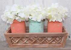 Set of 3 Coral and Aqua Painted Mason Jars with Brown Jar Holder Box - Coral Decor - Wedding Decor or Home Decor. $24.50, via Etsy.