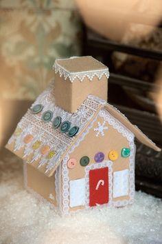 Casa de pan de jengibre del hecha de fieltro (1) (466x700, 223Kb)