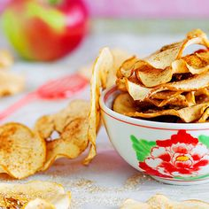 "Baking apple slices ""low and slow"" will give them the crispy, crunchy texture of a potato chip. No oil or salt required! Just add a sprinkle of cinnamon."