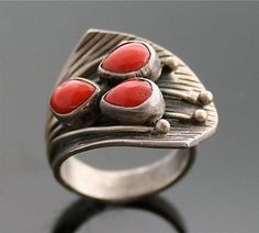 Native American, Vintage Coral and Silver Ring.