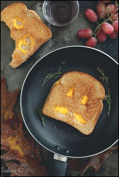 Jack O' Lantern Grilled Cheese Sandwiches