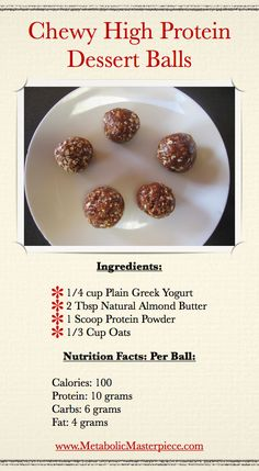 High Protein Snack - substituted with peanut butter, needed a cookie scoop to make into balls, very sticky. I won't make them again, a little too healthy for me, They must be an acquired taste.