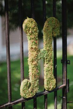 flower monogram, moss monogram, garden