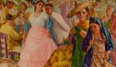 Jarabe con Charape / Jarabe Dance with Charape Drinks, 1939 chromolithograph, artist Antonio Gomez R. from the Museum's permanent collection.