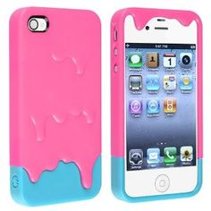 Pink 3d Melt Ice cream Skin Hard Case Cover for Apple Iphone 4 and 4s Protect Cell