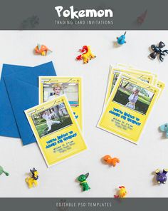 Have a Pokemon-obsessed child? Create your own trading cards/invitations with these templates.  Both templates (front and back) are fully editable in Photoshop so you can incorporate your own text and images.