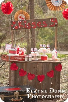 Awesome vintage kissing booth dessert table