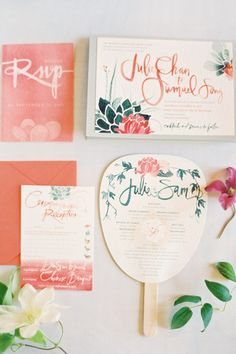 Hand painted wedding invitations