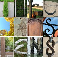 Thru Jen's Lens by Jen Werner - Booth #086: Photographs of objects in nature and architecture that look like letters, and then framed to spell words from 2-8 letters in length.