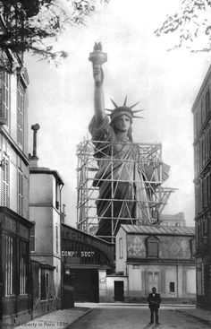 The Statue of Liberty in Paris before being disassembled, crated and shipped to the United States in 1886 • photo source: New York Public Library