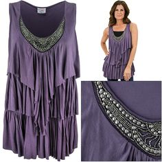 Embellished Waterfall Sleeveless Tunic at The Rainforest Site