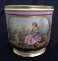 SEVRES-Hand-Painted-PINK-Porcelain-CACHE-POT-1871-GOLDEN-Edges-WOMAN-CHILD