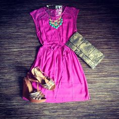 color combos, cloth, beauti outfit, affordable summer outfits, dress up, clutch, dress styles, dress and necklace, cheap summer dresses