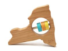 New York State Baby Rattle - Modern Wooden Baby Toy - Organic and Natural