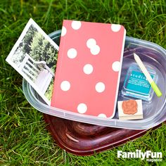 Blaze a Trail: Set up a letterboxing hunt in your yard. First, decide how many boxes to hide and choose a spot for each: the crook of a tree, say, or under a garden bench. Photograph the hiding places, then put a photo of each place in a watertight box, along with a rubber stamp, notebook, pencil, and inkpad. parti