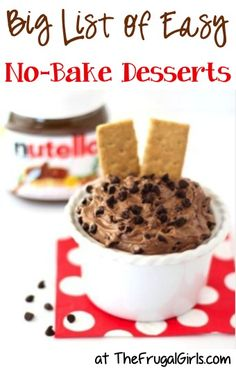 BIG List of Easy No Bake Dessert Recipes! ~ from TheFrugalGirls.com ~ keep dessert delicious and the kitchen cool with these tasty cookies, treats + more! #nobake #recipe #nobakedesserts #thefrugalgirls