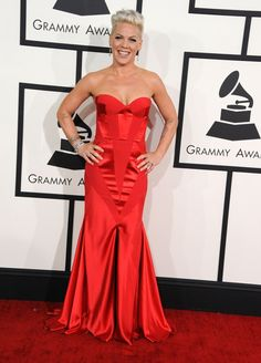 Nominee Pink opts for a red Johanna Johnson gown at the 56th Annual GRAMMY Awards on Jan. 26 in Los Angeles