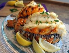 Garlic lobster tails Grilled Lobster Tail Recipe, Food, Grilling Lobster Tails, Grill Lobster