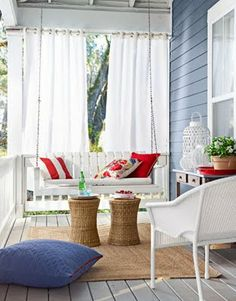 Red white and blue porch.