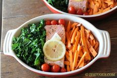 Baked Super Foods: Salmon, Kale & Sweet Potatoes by zestuous  #Salmon #Super_Food #Healthy