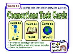 Use these 24 task cards to help your students practice the making connections reading strategy. The cards are divided into three sets of eight, one...