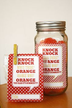 Orange You Glad Its Summer - end of the year gift for your kids, friends and teacher - free printable