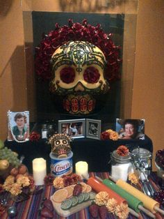 "Sneak peek of Julia Child altar by Rob-O from ""Day of the Dead: Art of Dia de Los Muertos"" opening 9/24. For more information, visit: http://www,californiamuseum.org/day-dead"