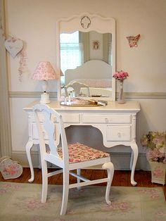 Graceful Vintage White Vanity/Desk with Mirror and Chair