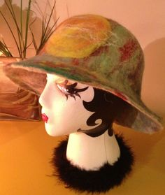 Needle and wet felted felt cloche hat with by MountainHoneyrags, $65.00