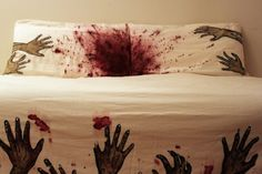 Melissa Christie's Zombie Bed Sheets, close up of pillows.