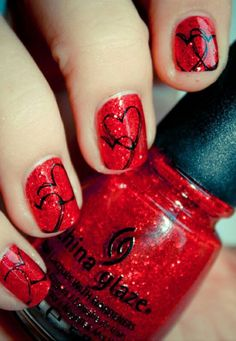 Heart Valentine's nails