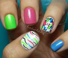 Neverland Nail Blog: Summer Fun Challenge - Fun in the Sun! I love the concept of having three solid nails with the other two designed with those three colors.