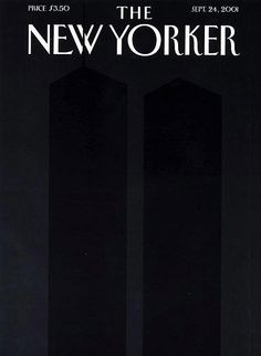 New Yorker cover from 24 September 2011. The two dark towers are barely legible in front of an off-black background.