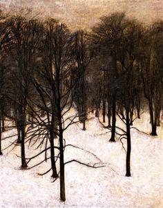 vilhelm hammershøi, landscap, winter, danish, trees, vilhelm hammershoi, paint, tree art, artist