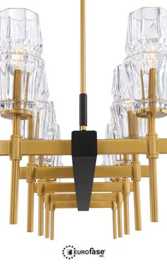 Cultivated beauty at its best, the Gladstone features an unconventional hourglass design with clear ridged glass which sits above a rich golden spoke. #interiordesign #lighting #decor #linear #chandelier #glass #black #gold #transitional #kitchen #bar #restaurant