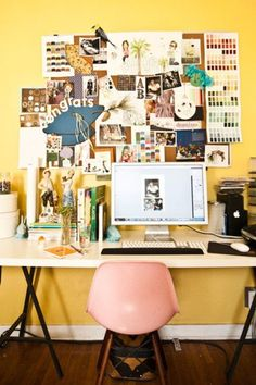 desk space, office spaces, mood boards, pin boards, bulletin boards, inspiration boards, yellow walls, home offices, workspac